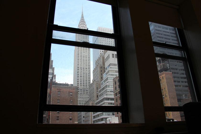 Blick aus unserem Hotelzimmer direkt auf das Chrysler Building