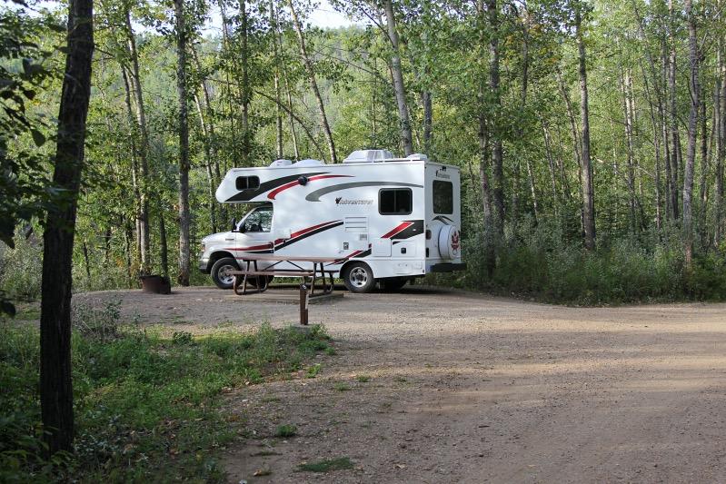 Unser Stellplatz auf dem Kiskatinaw Campground