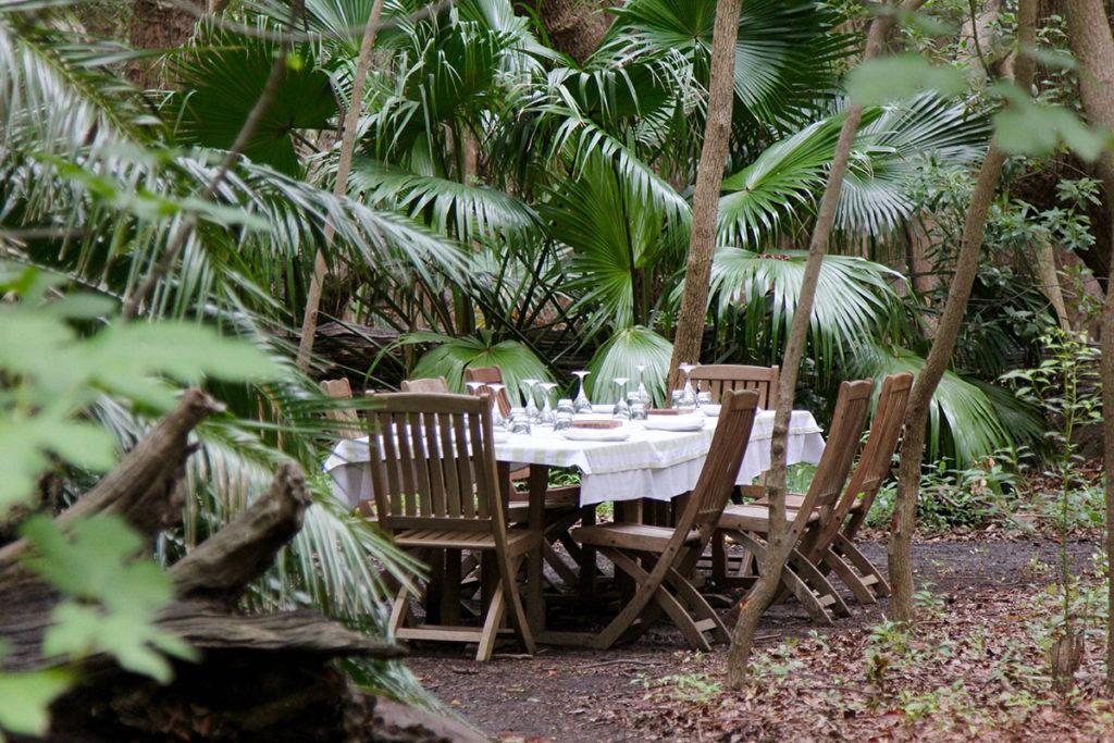 Dinner unter Palmen auf Verlegenen Estate
