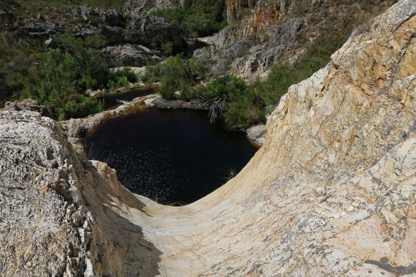 Wäre es nicht so trocken dieses Jahr, wäre hier der zweite Wasserfall
