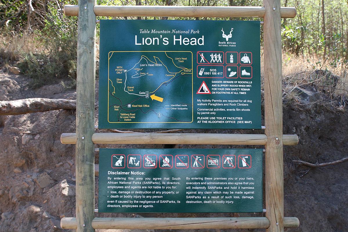 Hier startet die Tour auf den Lions Head